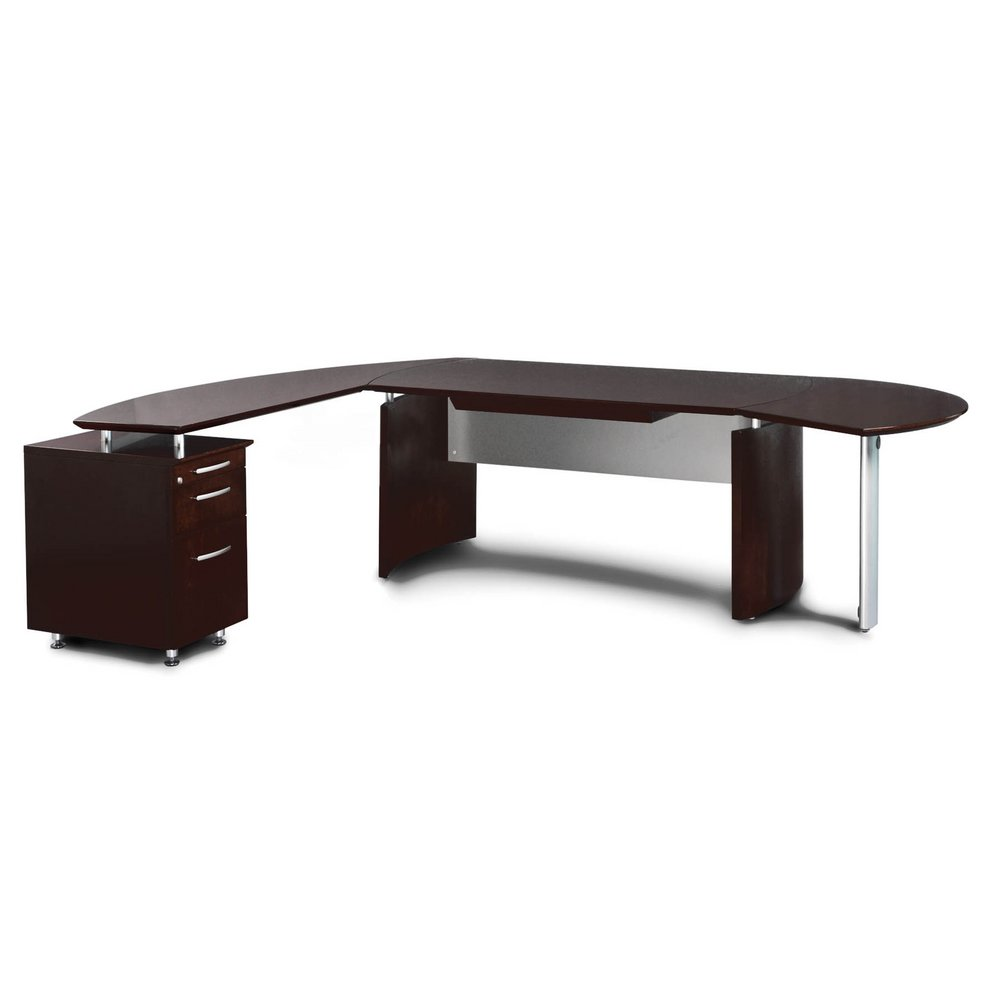 Mayline Napoli W Desk With Left Handed Return In Mahogany - Napoli conference table