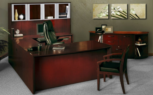 Corsica Office Desking in Mahogany