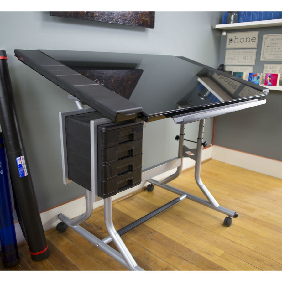 Craftmaster Ii Glass Top Craft And Drawing Table Cm48gl