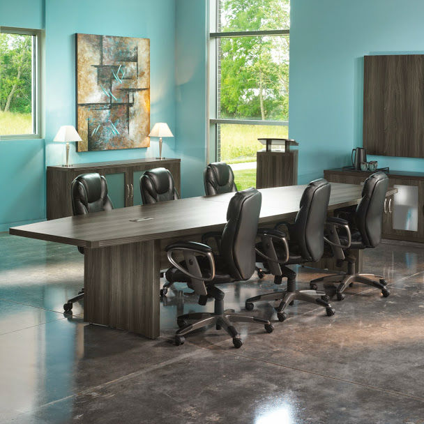 Mayline Aberdeen BoatShaped Conference Table In Grey Steel - Grey conference table