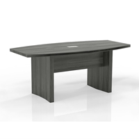 Aberdeen 6 Boat-Shaped Conference Table in Grey Steel