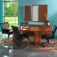 Aberdeen 8 Boat-Shaped Conference Table in Cherry Laminate