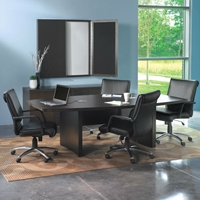 Aberdeen 6 Boat-Shaped Conference Table in Mocha Laminate