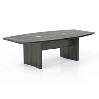 Aberdeen 8 Boat-Shaped Conference Table in Grey Steel Laminate