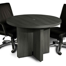 "Aberdeen 42"" Round Conference Table in Grey Steel"