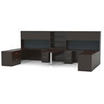 Aberdeen Double Workstation Desk in Mocha