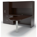 Aberdeen L-Shaped Peninsula Desk in Mocha