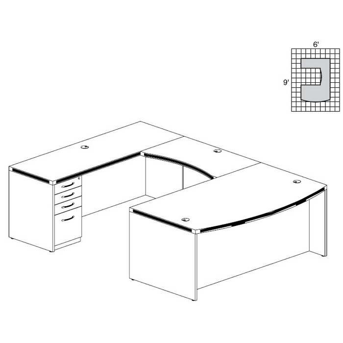 aberdeen bow front ushaped desk in mocha at3ldc