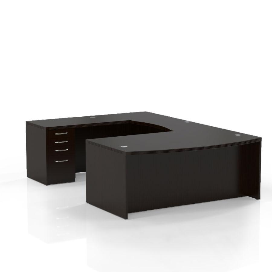 Aberdeen Bow Front U Shaped Desk In Mocha