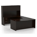 Aberdeen Bow Front U-Shaped Desk in Mocha