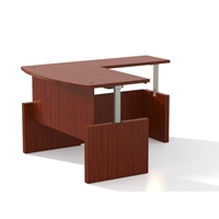 Aberdeen Height-Adjustable L-Shaped Bow Front Desk in Cherry