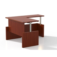 Aberdeen Height-Adjustable L-Shaped Straight Front Desk in Cherry