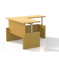 Aberdeen Height-Adjustable L-Shaped Straight Front Desk in Maple