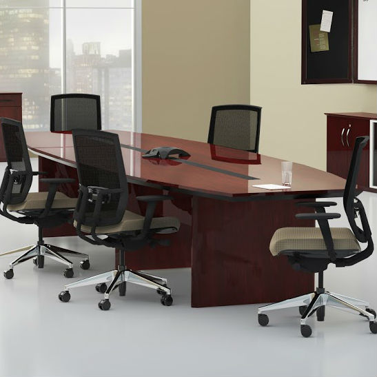 Mayline Corsica Boatshaped Conference Table In Mahogany CTCMAH - 120 conference table