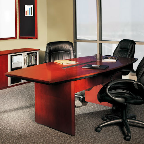 Mayline Corsica Boatshaped Conference Table In Sierra Cherry - Mayline corsica conference table