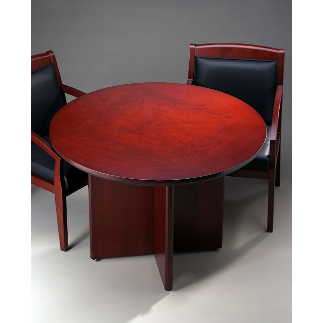 Mayline Corsica Round Conference Table In Sierra Cherry CTRNDCRY - Small round conference table with chairs
