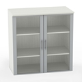Medina Glass Door Cabinet in Textured Sea Salt