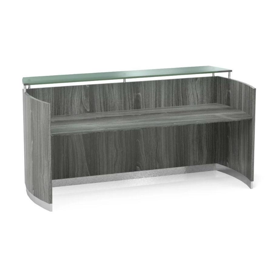 Na Reception Desk In Gray Steel Mnrslgs