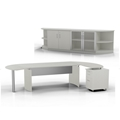 Medina Desk and Cabinet in Textured Sea Salt
