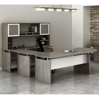 Medina U-Shaped Desk with Hutch in Gray Steel