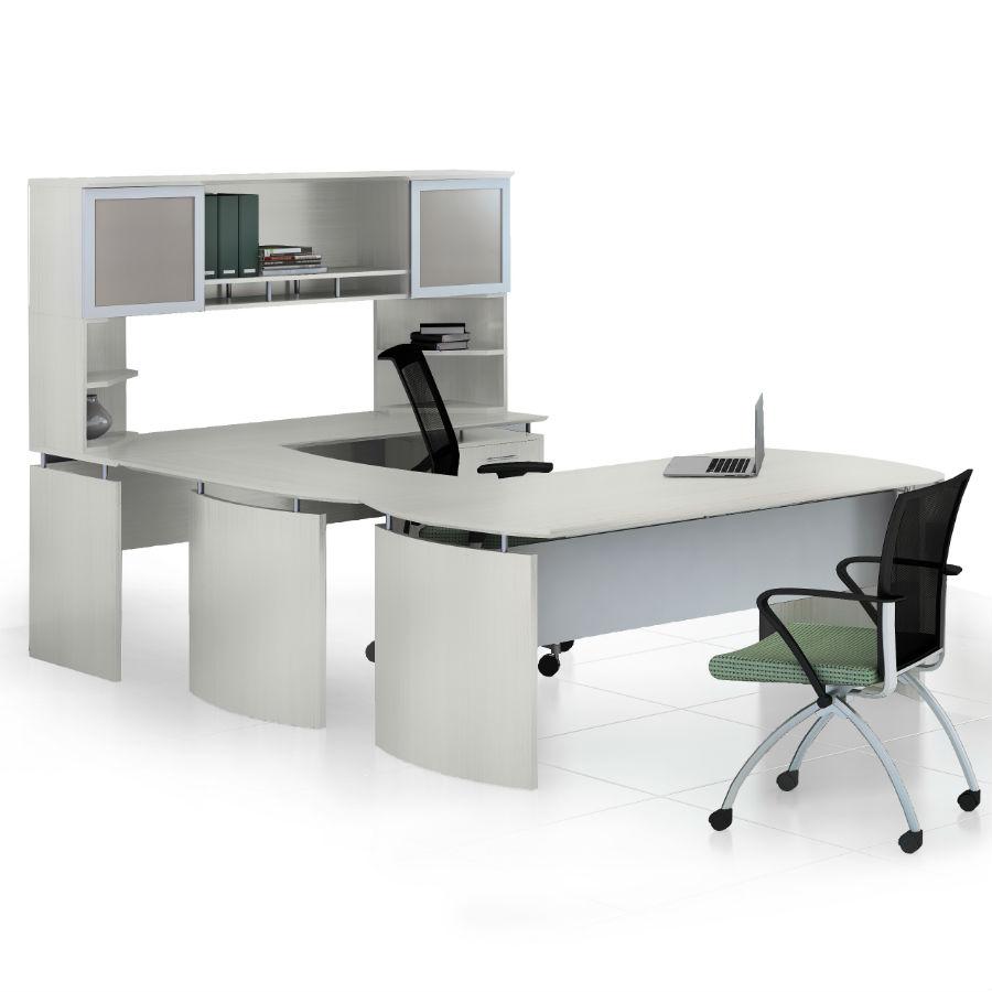Mayline Medina U-Shaped Desk with Hutch in Textured Sea Salt