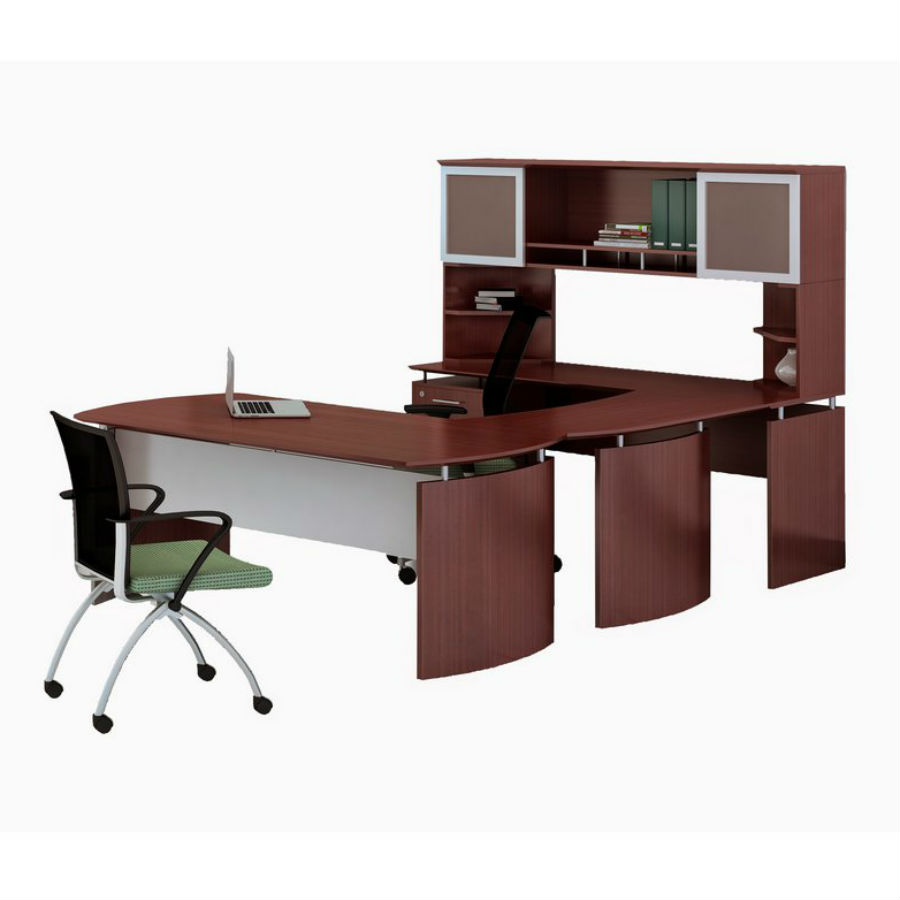 Medina U Shaped Desk With Hutch In Mahogany Laminate