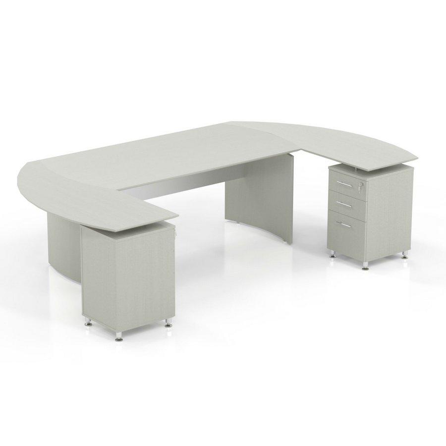 Na U Shaped Desk In Textured Sea Salt Laminate