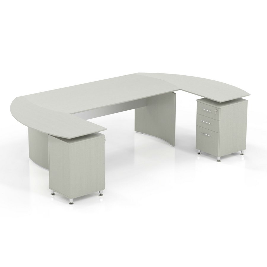 medina ushaped desk in textured sea salt laminate