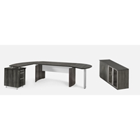 Medina Desk and Cabinet in Gray Steel Laminate