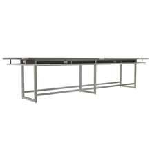 Mirella 16' Standing Height Conference Table in Stone Gray