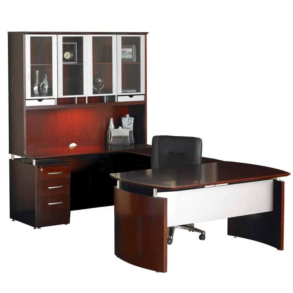 Napoli 72 Left Handed U Shaped Desk With Hutch In Sierra Cherry