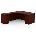 Sorrento Left-Handed L-Shaped Bow Front Desk in Bourbon Cherry