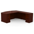 Sorrento Right-Handed L-Shaped Bow Front Desk in Bourbon Cherry