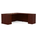 Sorrento Right-Handed L-Shaped Straight Front Desk in Bourbon Cherry