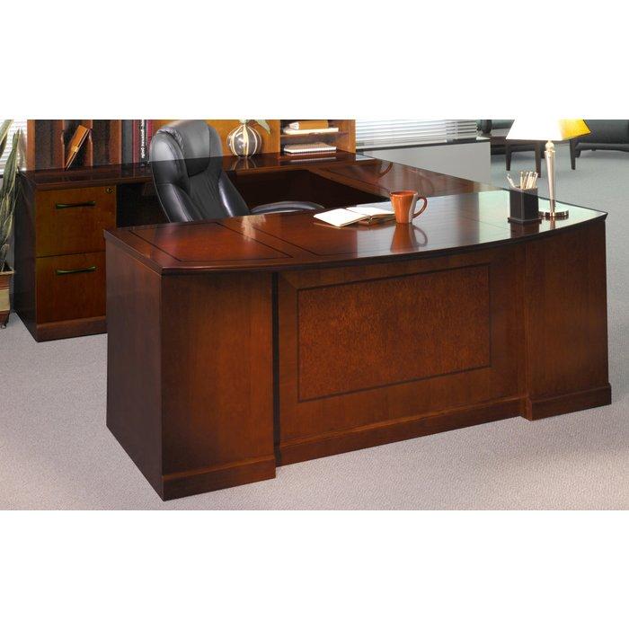 Soro Bow Front Left Handed U Shaped Desk In Bourbon Cherry