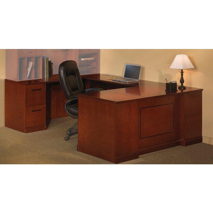 Soro Straight Front Left Handed U Shaped Desk In Bourbon Cherry