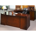 Sorrento Bow-Front Right-Handed U-Shaped Desk in Bourbon Cherry