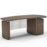 "Sterling 66""W Single Pedestal Desk in Textured Brown Sugar"
