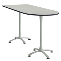 "84"" x 36"" Cha-Cha Standing-Height Peninsula Table Collaboration table; Conference table; Meeting table; Bistro height table; Round table; Tall table; Table and base; Table with base; Break room table; Gathering table; Standing table; Stand up table; Standup table"