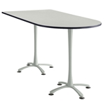 "84"" x 42"" Cha-Cha Standing-Height Peninsula Table Collaboration table; Conference table; Meeting table; Bistro height table; Round table; Tall table; Table and base; Table with base; Break room table; Gathering table; Standing table; Stand up table; Standup table"
