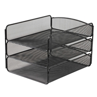 Onyx Triple Tray Three letter tray organizer; Letter size three tray organizer; Three tray sorter; Desk organizer; Office organizer; Desk tray; Desk accessories; Black desk organizer; Black office organizer; Black desk tray; Mesh organizer; Steel mesh organizer; Steel mesh desktop organizer; Mesh desktop organizer