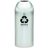 Dome Top Recycling Receptacle, Color: Polished Metal