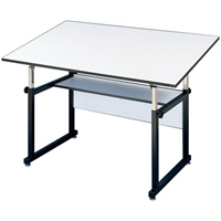 "WM48-3-XB : Alvin 36"" x 48"" WorkMaster Drafting Table, Base Color: Black"