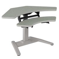 "LT-Series 42"" x 24"" Curved Corner Dual Surface Adjustable Height Table"