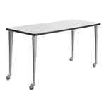 "60"" x 24"" Rumba Post Leg Table with Casters"