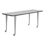 "72"" x 24"" Rumba Post Leg Table with Casters"