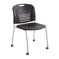 Vy Straight Leg with Caster Chairs; Stacking chairs; Plastic chairs; Big and tall chairs; Auditorium chairs; Stackable seating; Big and tall seating; Black chairs; Black stackable chairs; Mobile seating; Mobile chairs; Classroom chairs; Training room chairs; Training room seating