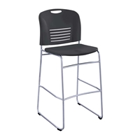 Vy Bistro Sled Base Chairs; Plastic chairs; Big and tall chair; Seating; Big and tall seating; Office chair; Big chair; Tall chair; Black chair; Bistro height chair; Bistro height seating