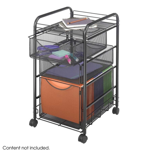 5213BL : Safco Onyx Mesh File Cart with 1 File Ddrawer and 2 Small Drawers