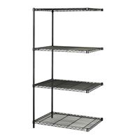 "Industrial Wire Shelving - Add-on Unit - 36""W x 18""D x 72""H Industrial wire shelving; Industrial wire storage shelving; Industrial backroom shelving; Industrail back room shelving; Steel shelving; Storage shelving; Extra strength steel shelving; Garage storage; Backroom storage; Backroom shelving; Backroom organziation; Back room storage; Back room shelving; Back room organziation; Facility maintenance; Heavy duty steel shelving; Black steel shelving; Black storage shelving; Black extra strength steel shelving"